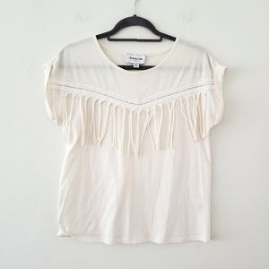 Highline Collective Ivory Fringe Tee Size Small